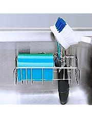 KIKIBRO Adhesive Sink Caddy, 2-in-1 Sink Sponge Holder + Sink Brush Holder, Stainless Steel Kitchen Sink Organiser Basket, Rust Proof, No Drilling