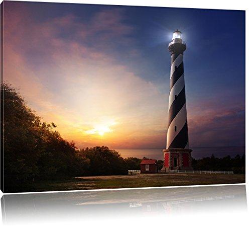 Cape Hatteras Leuchttum, Format: 80x60 auf Leinwand, XXL riesige Bilder fertig gerahmt mit Keilrahmen, Kunstdruck auf Wandbild mit Rahmen, günstiger als Gemälde oder Ölbild, kein Poster oder Plakat