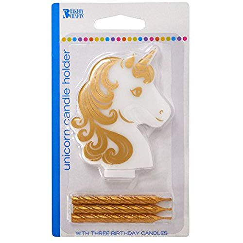 Golden Unicorn Birthday Candle Holder With Three Gold Candles