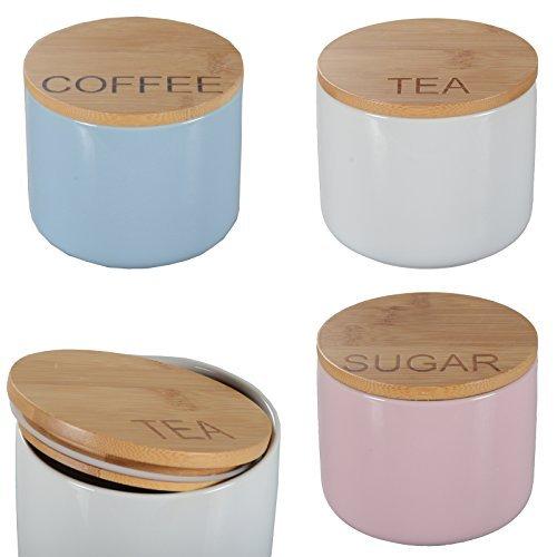 DRULINE 3er-Set Aufbewahrungsdose Porzellan Bambusdeckel Bunt Keramik Dose Vorratsdose Coffee (Blau) - Tea (Weiß) - Sugar (Rosa)