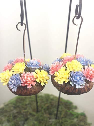 Fairy garden miniature flower baskets. Hanging acorn planters. Set of 2. Pink yellow and blue flowers. Dollhouse, terrarium décor.