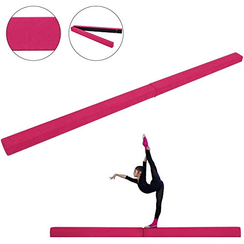 Popsport Gymnastics Balance Beam 7FT 8FT Safe Secure and Firm Long Balance Beam Suede Material Folding Floor Gymnastics Equipment for Teens Kids Hone Skills Training Physical Therapy at Home(8FT)