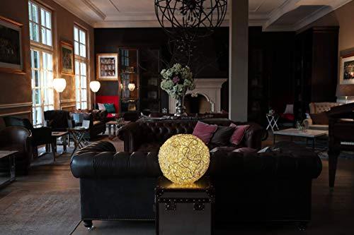 LED-Leuchtkugel, Fil de fer, Lichtkugel, Kugellampe, Gartenlampe, Bodenlampe, Enstpannungsleuchte, Bodenleuchte aus hochglanzpoliertem Aluminium mit dimmbaren Außen-LED´s von TraVani