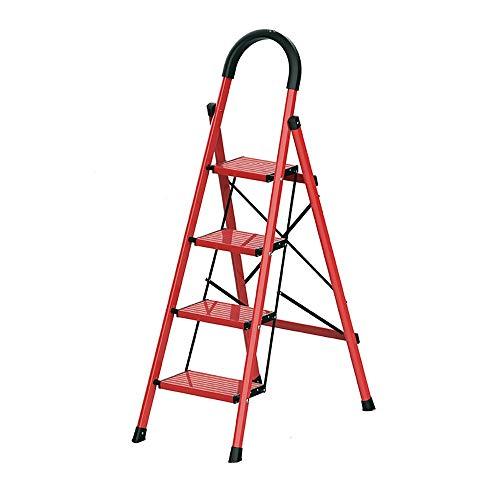 JINWEI Escalera Plegable con Brazos en Forma de U, de Aluminio de 4 Pasos de Escalera, Antideslizante Ensanchamiento Pedales y Cojines del pie, Escalera de luz de Seguridad for el hogar/Cocina/Gar