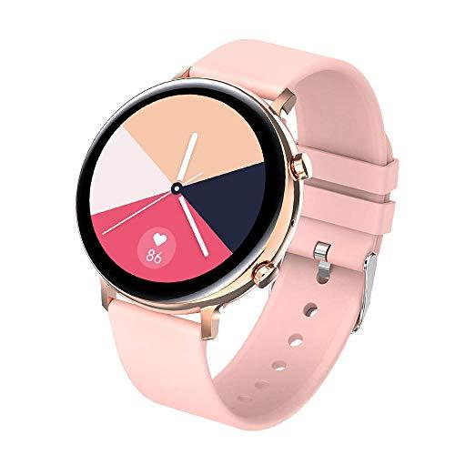 DHTOMC Llamada Bluetooth pulsera inteligente gran color pantalla podómetro IP68 impermeable múltiples deportes modo de recogida de datos reloj-Rosa