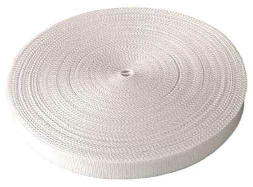 Schnoschi Gurtband Polypropylen 20 Meter lang – viele Verschiedene Breiten und Farben 10mm 15mm 20mm 25mm 30mm 40mm 50 mm (weiß, 20 mm)