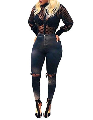 Angsuttc Women's Polka Dots Sheer See Through Long Sleeve Button Down Shirt Blouse Black M