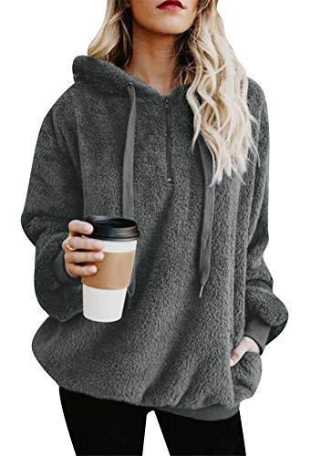 EFOFEI Damen Winter Warm Weich Pullover Teddy Fleece Pullover Farbblock Kapuzenmantel mit Reißverschluss Dunkelgrau 5XL