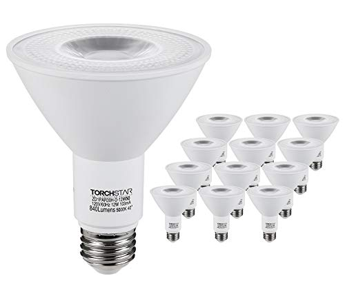 TORCHSTAR 12-Pack 12W PAR30 LED Flood Light Bulbs Long Neck, 75W Equiv, Wet Location Available, CRI90+, 840lm, Energy Star & UL Listed, 3000K Warm White, Dimmable Recessed Bulb