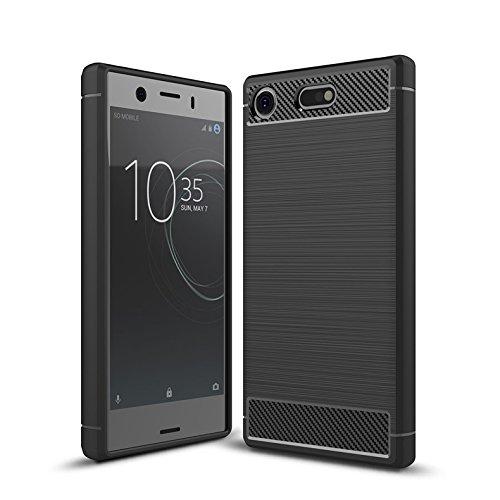 Cruzerlite Sony Xperia XZ1 Compact hülle, Sony Xperia XZ1 Compact Schutzhülle, Carbon Fiber Shock Absorption Slim TPU Cover Schutzhülle für Sony Xperia XZ1 Compact (2017) (Black)