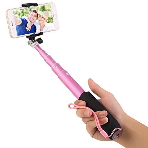 OUTAD Asta Telescopica per Selfie Bluetooth Stick Estensibile Manico a Selfie Universale (Rosa)