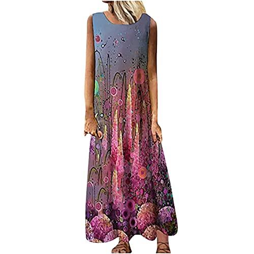 CPNG Damen Kleid/Sommerkleid für Frauen/Frauen Oansatz Sleeveless Print Sommer Party Bank Sling Halfter Maxi Kleid (rot,L)