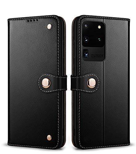 SUZCY Galaxy S20 Ultra Funda de piel auténtica con tapa, función atril, tarjetero, cierre de botón, antigolpes, funda protectora para Samsung Galaxy S20 Ultra (Negro)