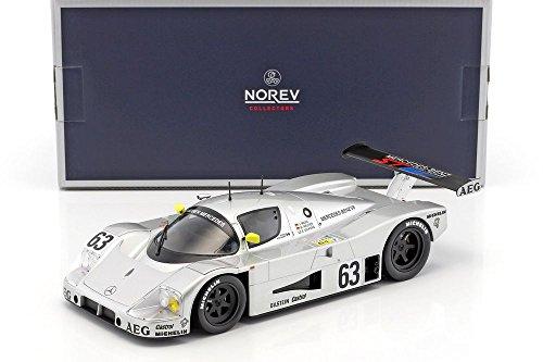 Norev - Mercedes C9 Winner Le Mans 1989 Sauber Véhicule miniature, 183442, Argent/ Jaune, Echelle 1/18