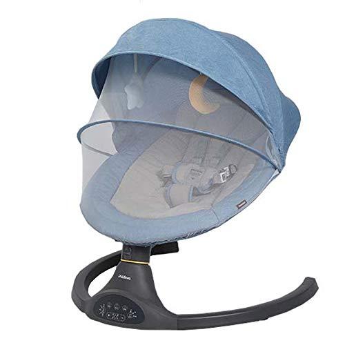 BABYNEED Columpio para Bebé con Bluetooth, Columpio de 6 velocidades y Cronometraje de 3 velocidades,Hamaca Bebé Electrica con Juguetes De Peluche, Mecedora para BebéS para ReciéN Nacidos,Blue