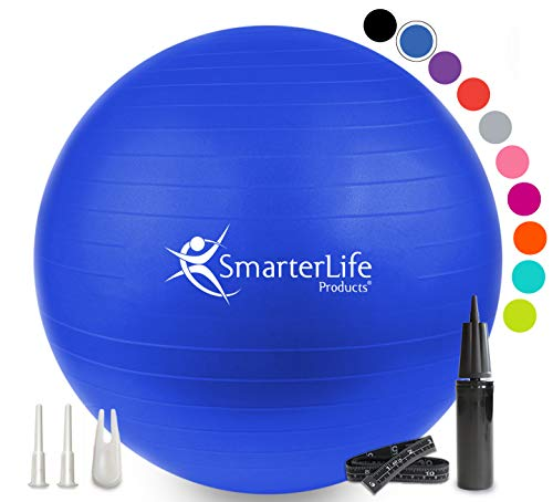 Exercise Ball for Yoga, Balance, Stability from SmarterLife - Fitness, Pilates, Birthing, Therapy, Office Ball Chair and Flexible Seating   Anti Burst, Non Slip   + Workout Ball Guide (Blue, 75 cm)
