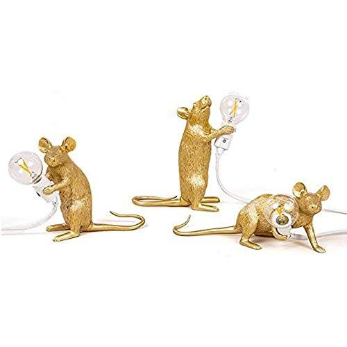 Lamoy (3 Pack) Lámpara De Ratón, Lámpara Mesa Con Forma Ratón,gestión Resina, Lámpara Cabecera,lectura, Forma De Ratón, Lámpara Escritorio De Resina, Lámpara Cabecera (Golden)