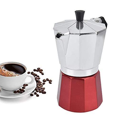 Cafetera octogonal de aluminio, cafetera Moka, cafetera exprés de estufa con mango aislado para cocina, oficina en casa(6 taza)