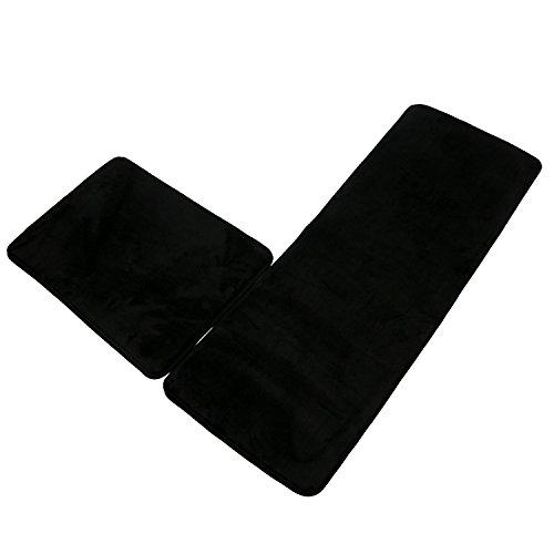 SHACOS Memory Foam Bath Rug Bathroom Runner Set of 2 Non Slip Bathmat Foam Kitchen Rugs Floor Mats (18×26+18×47, Black)