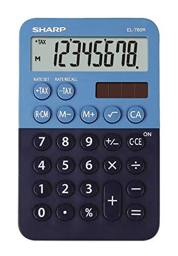 Sharp EL-760 R Taschenrechner ( 8-stellig, Solar-/Batteriebetrieben) blau
