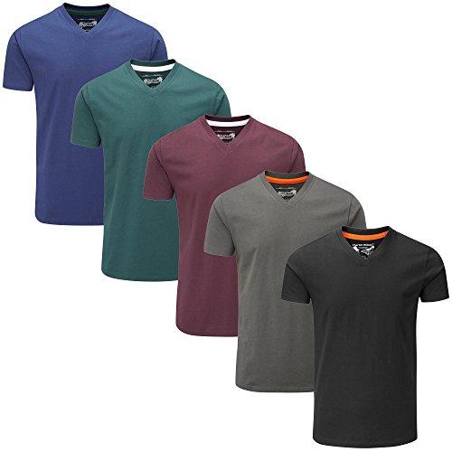 Charles Wilson 5er Packung Einfarbige T-Shirts mit V-Ausschnitt (Large, Dark Essentials Type 41)
