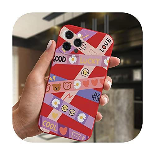 Moda lujo sonrisa oso etiqueta arte teléfono caso para iPhone 11 12 Pro XS Max XR X 7 8 Plus SE 2020 cubierta de caramelo suave silicona Coque-RedMF-C4566-para iPhone 12