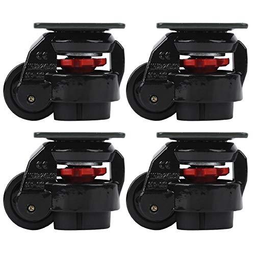 Fafeicy Rueda giratoria de ajuste de nivel de 4 piezas, ruedas giratorias de nivelación de ruedas industriales de alta resistencia GD-60F para movimiento de máquinas grandes