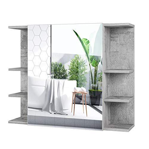 Homfa Spiegelschrank fürs Bad Badezimmerschrank mit Spiegel Hängeschrank Wandschrank Badezimmerspiegel mit Öffnen Ablagen und Tür Grau 80x19x80cm