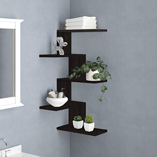 RANK Modern 5-Tier Floating Corner Shelves Wall Mounted Display Organizer Storage Shelf for Bathroom, Bedroom, Living Room, Kitchen, Office and More (Espresso)