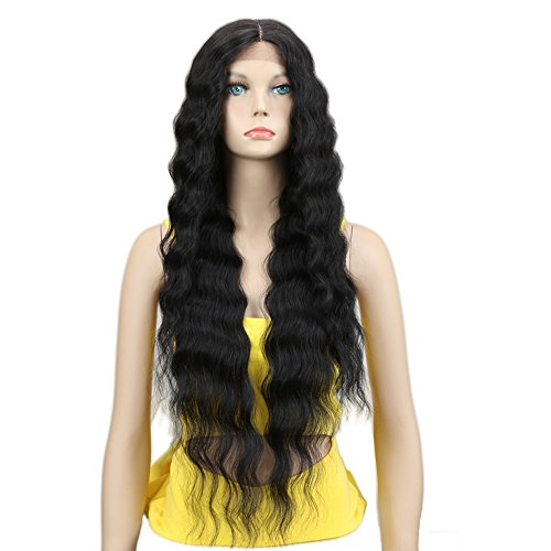 "Joedir Lace Front Wigs 30'' Long Wavy Synthetic Wig 4.5"" Deep Part HD Transparent Lace For Women 130% Density Wigs(BLACK COLOR)"