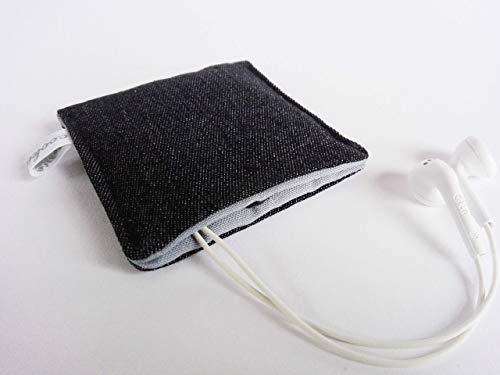Kleines Etui mit Druckknopf. Aufbewahrungstasche - Earplug, Earpod, Kopfhörer Tasche, USB Stick Bag, Täschchen. Kleines Geschenk. Schwarz-Hellgrau