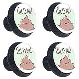 Juego de 4 pomos de 30 mm para gabinete, diseño divertido con texto en inglés 'Life is Me'