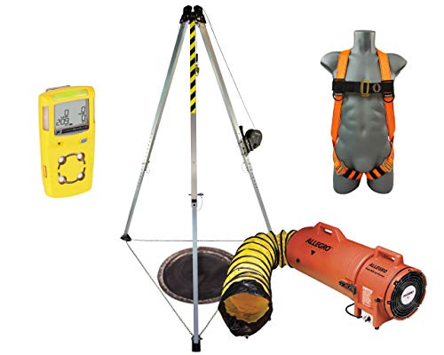 Confined Space Kit FRONTLINE-CSE-KIT Rescue System Complete Safety & Compliant   Gas Detector   Frontline 7' Tripod   Frontline Self-retracting Lifeline   Frontline Combat Harness   Allegro Air Blower