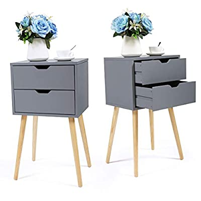 JAXPETY Set of 2 Nightstand 2 Drawers End Table Storage Wood Cabinet Bedroom Accent Side Table (Gray)