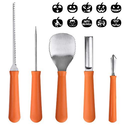 Pumpkin Caring Kit, OTBBA 5 Piece Halloween Pumpkin Carving Tool Set With 10 Carving Stencils DIY Halloween Jack-O-Lantern For Pumpkin Party Decorations