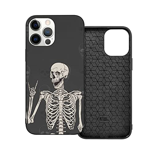 Rock and Roll Skeleton Skull Boho Hippie Compatible with iPhone 12 Case and Phone 12 Pro Protective Cover Slim Fit Soft TPU Apple Bumper Shockproof Cases for Girls Women Men
