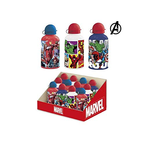 Cerdá, Botella de Aluminio para Agua Color Blanco-Licencia Oficial de The Avangers de Marvel Studios Unisex niños, White, 500 ML: 4,4,4