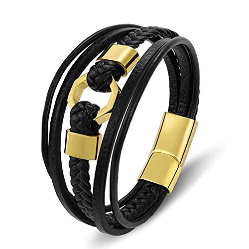 Pulsera Hombres Luxury Trenzado Cuerda Acero Inoxidable Hombres Pulsera Cuero Oro Negro Oro magnético Broche brazaletes Regalo de joyería para el Padre BXG6325