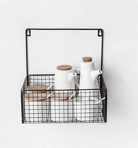 Estante para el baño montado en la pared sin perforaciones Organización de la canasta de almacenaje del baño montado en la pared de hierro forjado, colgante sin aros Canasta de almacenamiento