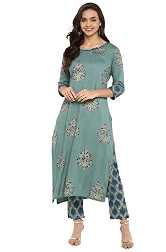 Janasya Indian Tunic Tops Rayon Kurti Set for Women (SET094-KR-NP-M) Turquoise