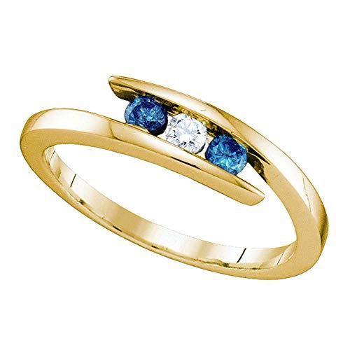Anillo de oro amarillo de 10 quilates para mujer, redondo, color azul, con diamante mejorado, 3 piedras, 1/4 de mariposa