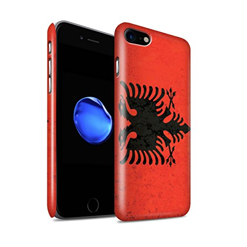 Glanzend telefoonhoesje voor Apple iPhone SE 2020 vlaggen Albanië/Albanees ontwerp glanzend Ultra slank dun hard snapcover