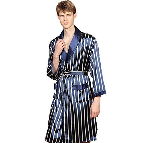 Camisón de Hombre Kimono Bata Primavera Y Verano Imitación de Seda Albornoz Fino de Manga Larga Pijama de Uso Doméstico a Rayas,Azul,1X