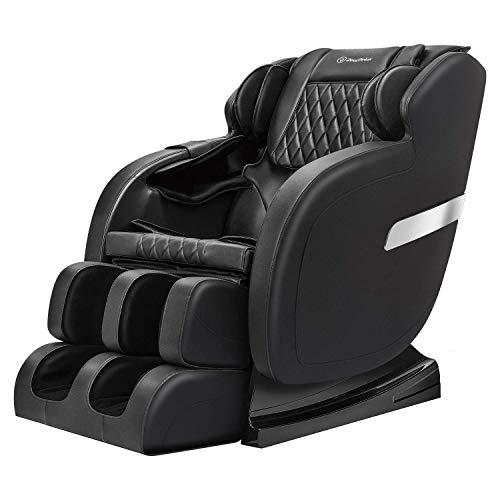 Real Relax Massage Chair, Full Body Zero Gravity Shiatsu 3D Robots Hands S Track Recliner, Black