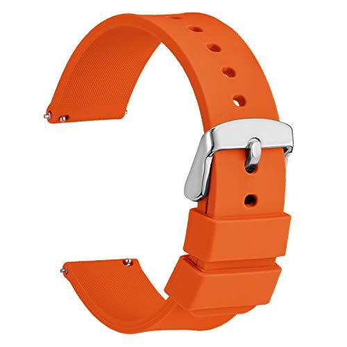 WOCCI 14mm Orologi Cinturino in Silicone con Fibbia Argento per Uomo Donna (Arancio)