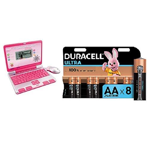 VTech Challenger Laptop (Pink) and Duracell Ultra AA Alkaline Batteries, 1.5 V LR06 MX1500, Pack of 8