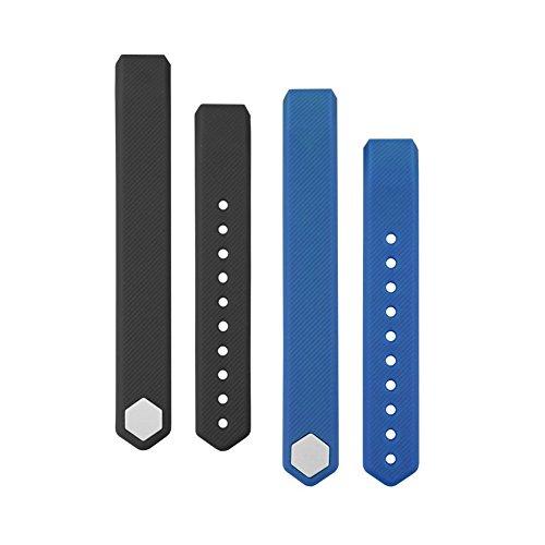 YFish Conjunto Correas de Reemplazo Silicona Suave Longitud Ajustable para Pulsera Deportiva ID115, Colores a Opción – Negro+ Azul