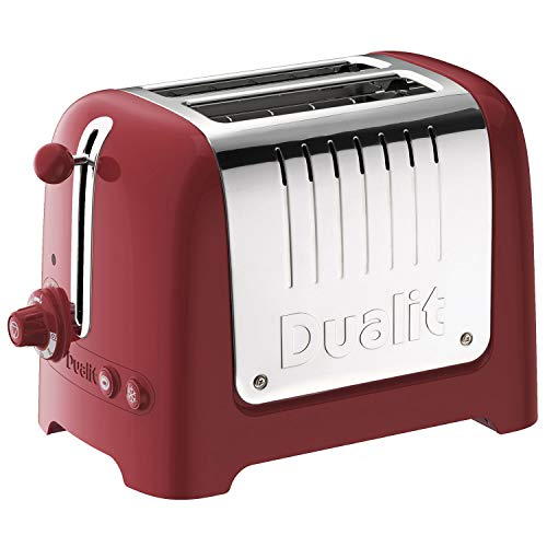 Dualit 2 Slice Lite Toaster   1.1kW Toasts 60 Slices an Hour   Polished with Red Trim   Bagel & Defrost Settings   36 mm Wide Slots   26207