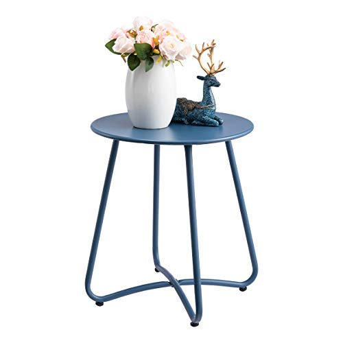 HollyHOME Small Round Patio Metal Side Snack Table, Accent Anti-Rust Steel Coffee Table for Garden, Modern Weatherproof Outdoor End Table, (H) 17.55' x(D) 15.60', Navy Blue