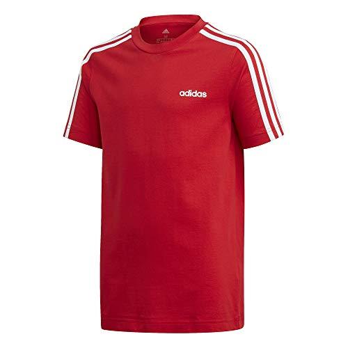 adidas YB Tee T-Shirt, Rouge Foncã/Blanc, 11/12 Anni EU Bambino